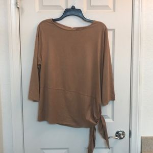 Chico's Travelers Collection Tan Sueded Top